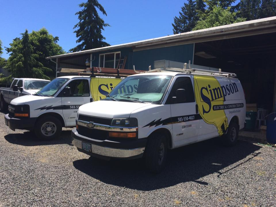 The Simpson Electrical Construction Co vans in McMinnville, Oregon